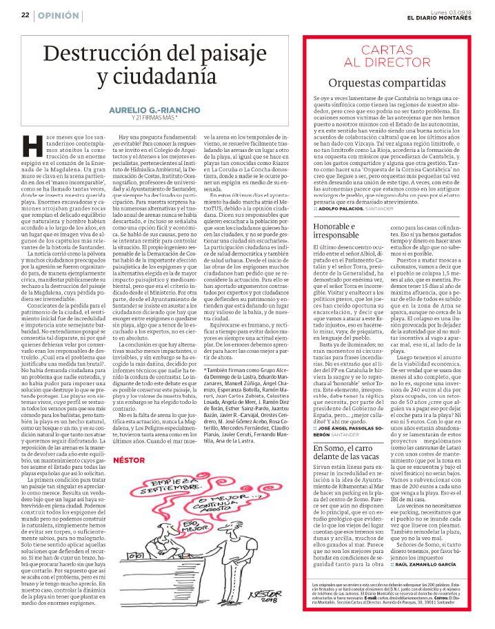 Tribuna G ALCEDA, Destrución del paisaje y ciudadanía